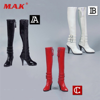Accessory 1 6 ZY1008 Red Black High Tube Zipper Female High Heels Leather Boots For 12