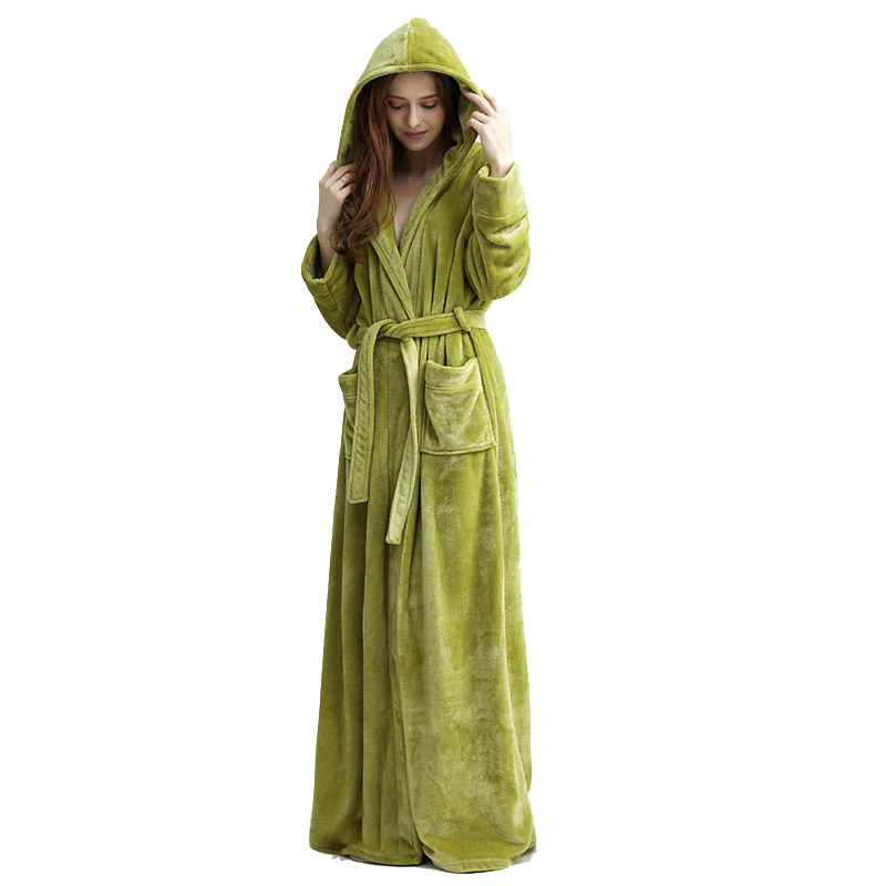 Brand New Women's Hooded Extra Long Flannel Bathrobe Women Thick Winter Kimono Bath Robe Bridesmaid Robes Dressing Gown  Warm