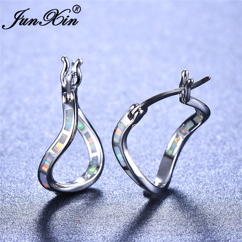 JUNXIN Silver Color White Fire Opal Earrings For Women Rainbow Birthstone Wave Hoop Earrings Female Wedding Gifts