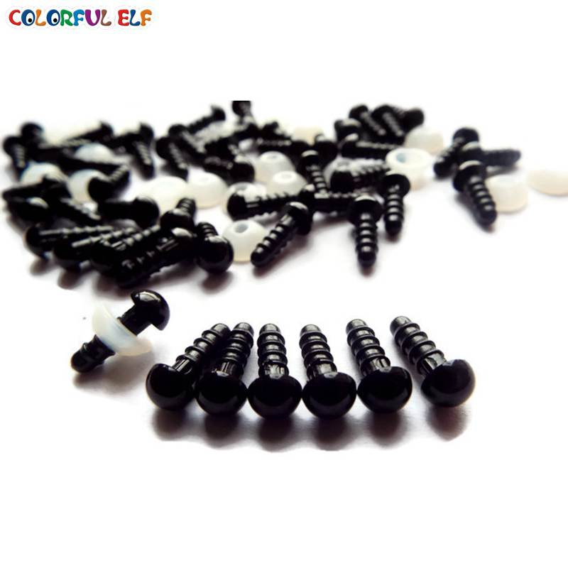 50 Pairs 100pcs 6mm Safety Eyes Black Color With Washers Animal Doll Eyes Free Shipping in Dolls Accessories from Toys Hobbies