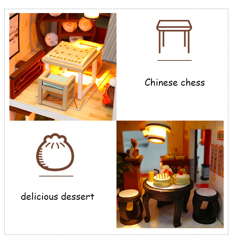 Doll House Chinese Style Hotel Miniature Dollhouse Assemble Kit Toys Wooden Retro Shop Furniture House Toys for Children New Year Christmas Gift (8)
