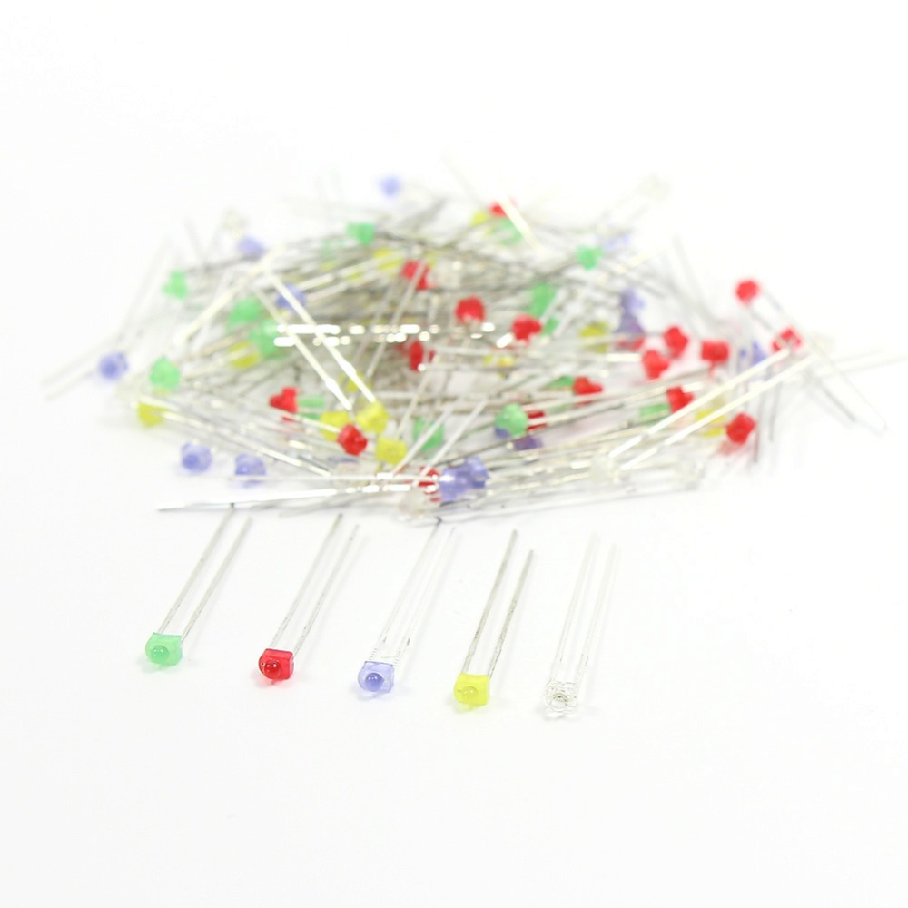 100PCS 1.8mm Mixed color LEDs & Free Resistors LED1.8 White Red Blue Green and Yellow led model train ho scale railway modeling
