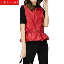 SHILO GO Fashion Street Women Formal Office O-Neck Sleevel Ruffles Sheepskin Genuine Leather Short Blouse Ladies Concise Blouse