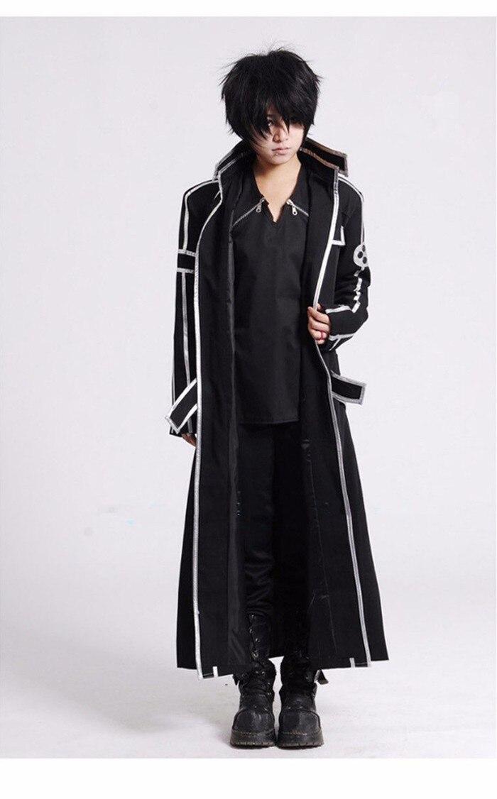 US $33.7 15% di SCONTO|Spada Arte Online SAO Kirito Kirigaya Kazuto Cosplay Costumi Lungo Cappotto Mantello Nero in Costumi Anime da Novità e articoli