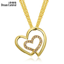 DreamCarnival 1989 Light Gold Color Linking Hearts Pendant Necklace for Women Drop Ship Double Chains Crystals Jewelry 18N1008G(China)