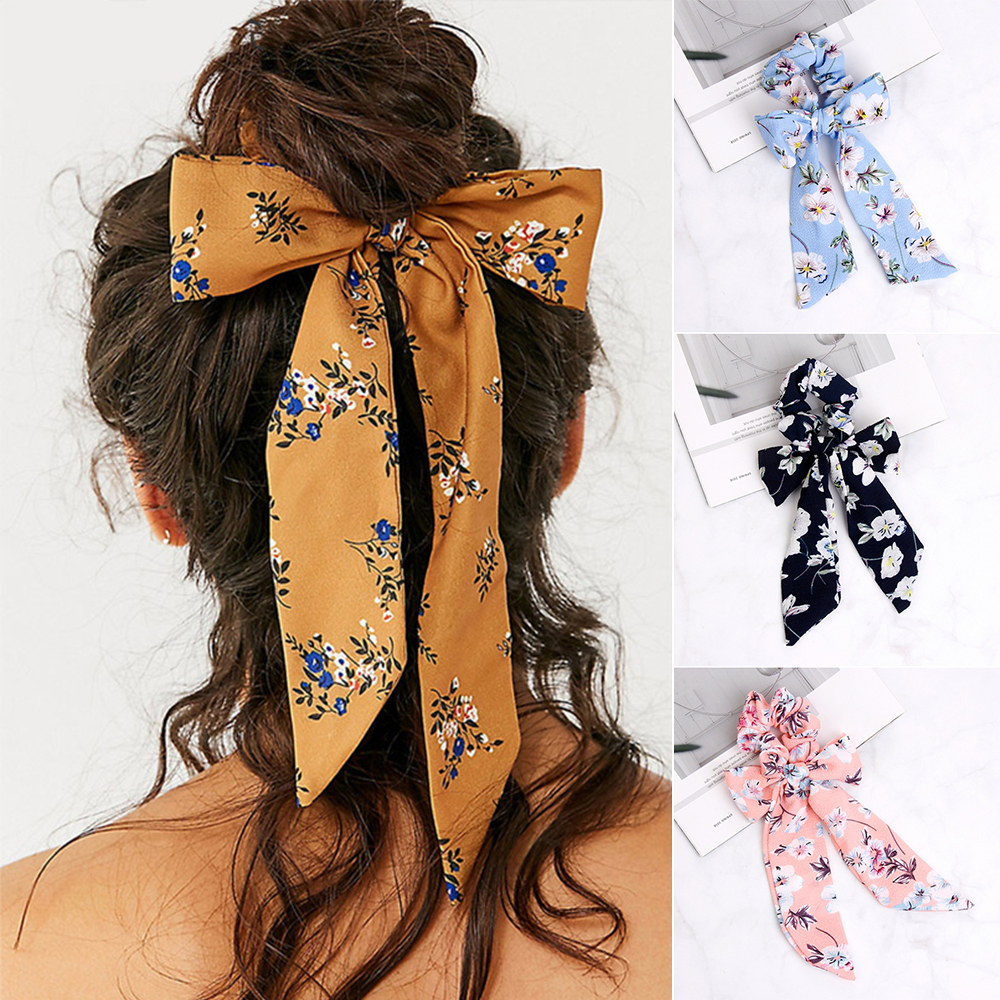 New Women Bow Streamers Hair Ring Fashion Ribbon Girl Hair Bands Scrunchies Horsetail Tie Solid   Headwear   Hair Accessories