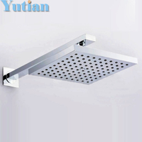 Free Shipping Chrome Finished Wall Mounted 20x20cm Water Saving Square Rain Shower Head With Arm Chuveiro
