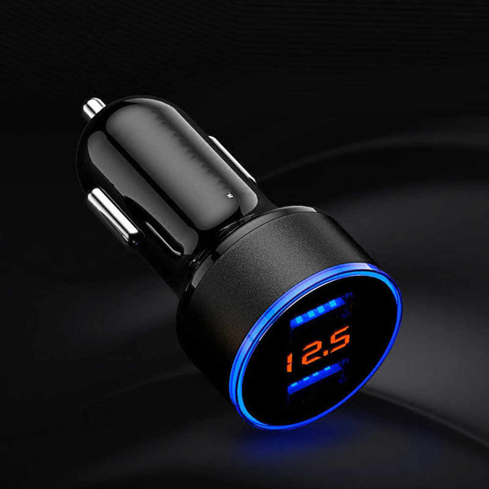 New Car Charger 1PC 2.1A Dual USB Car Charger 2 Port LCD Display 12-24V Cigarette Socket Lighter Cars Charger 25