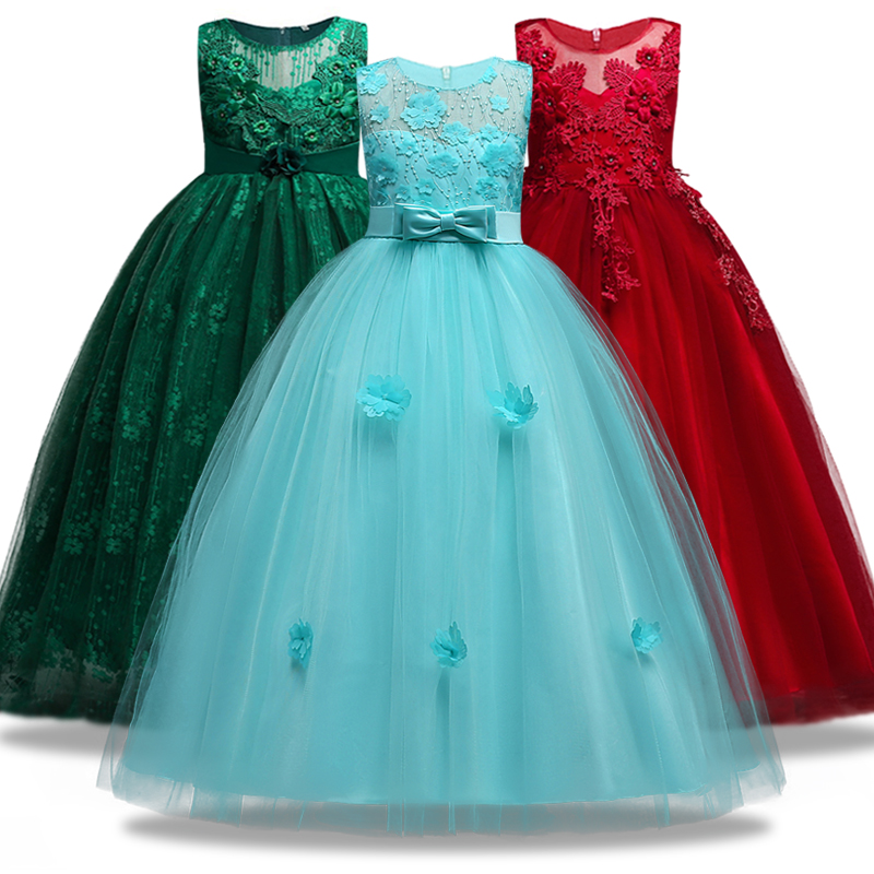 Weddings & Events Kinder Mädchen Hochzeit Blume Mädchen Hochzeit Ball Kleid Formale Kleid Jugend ärmellose Spitze Applique Kleid 4 ~ 14 Ysar Hochzeits-partykleid