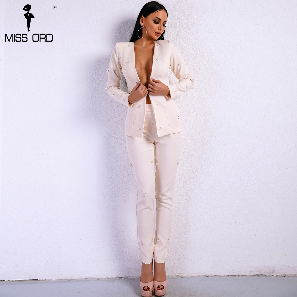 Missord 2020 Sexy  Long Sleeve Button Two Pcs  Sets Beads Solid Color Elegant  Jumpsuit  FT8720-1