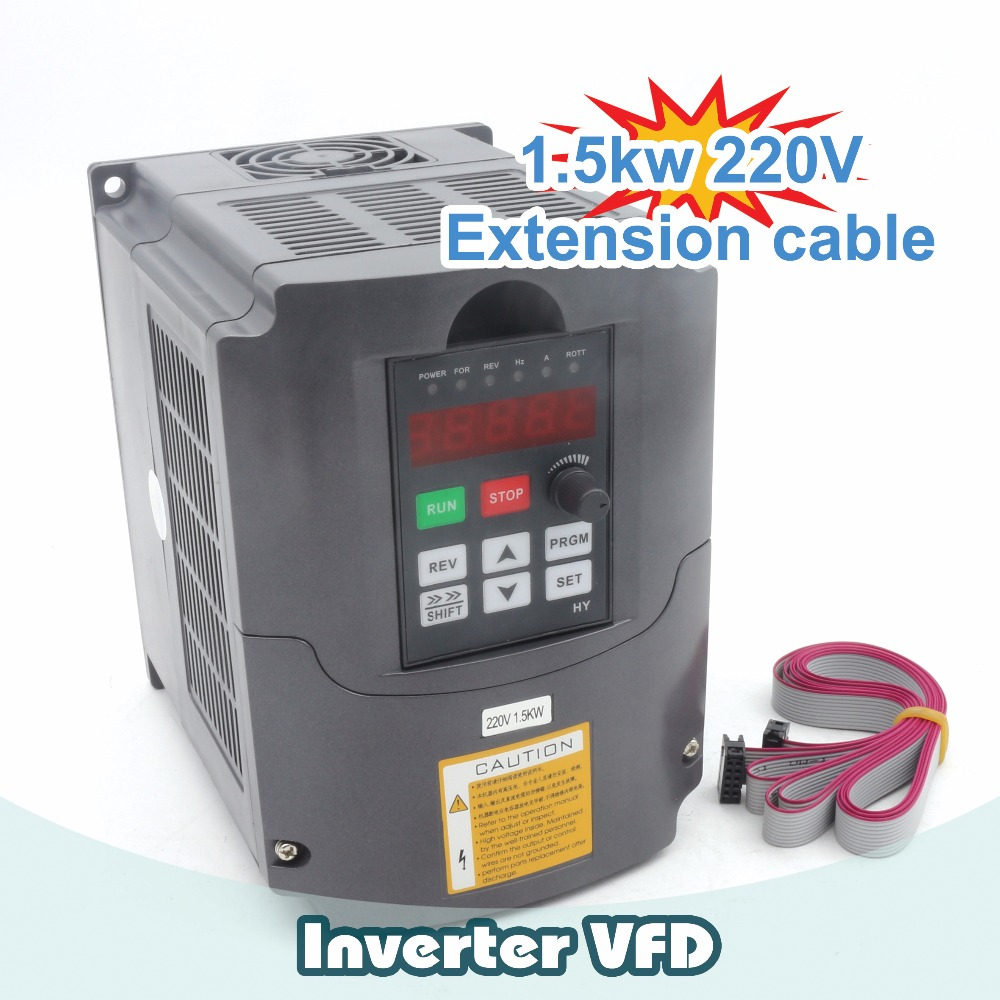 1.5kw 220V Variable Frequency Drive VFD Inverter 2HP 220V 7A & Extension cable/control panel box From RATTM MOTOR