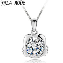 Fyla Mode 2017 Fashion Crystal Twelve Constellations Pendants 925 Sterling Silver for Women Girl Gemini Necklace PSB054