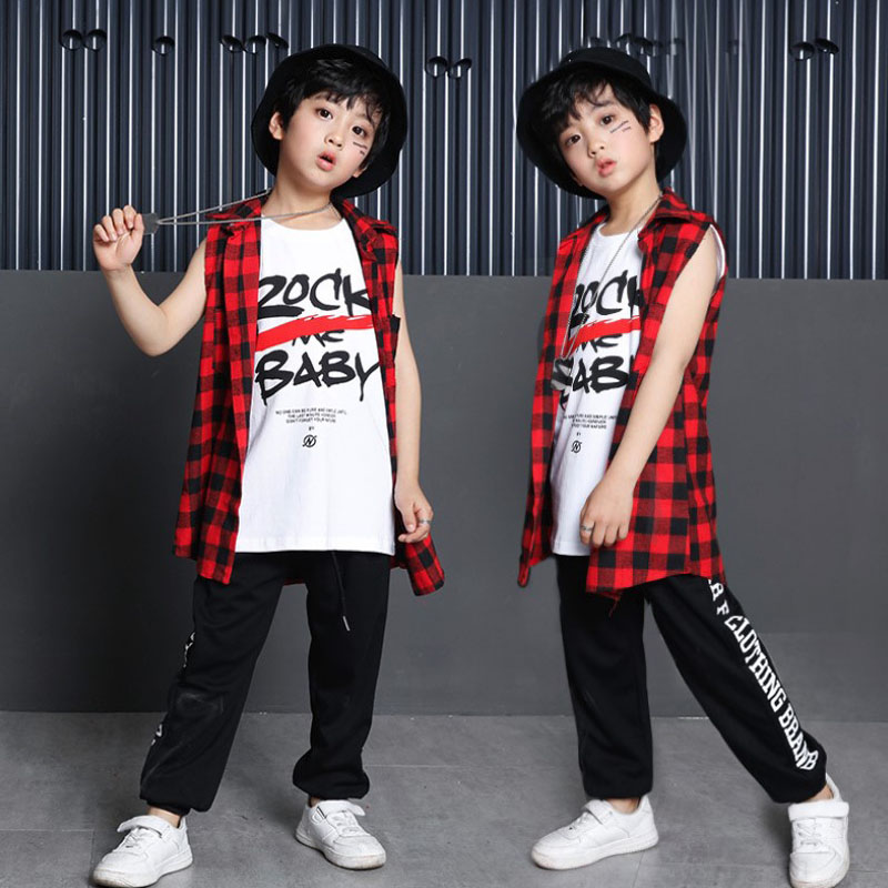KTLPARTY children boy girl rock hip hop costume hip hop vest red check jazz clothing T-shirt street jazz dance hip-hop costume