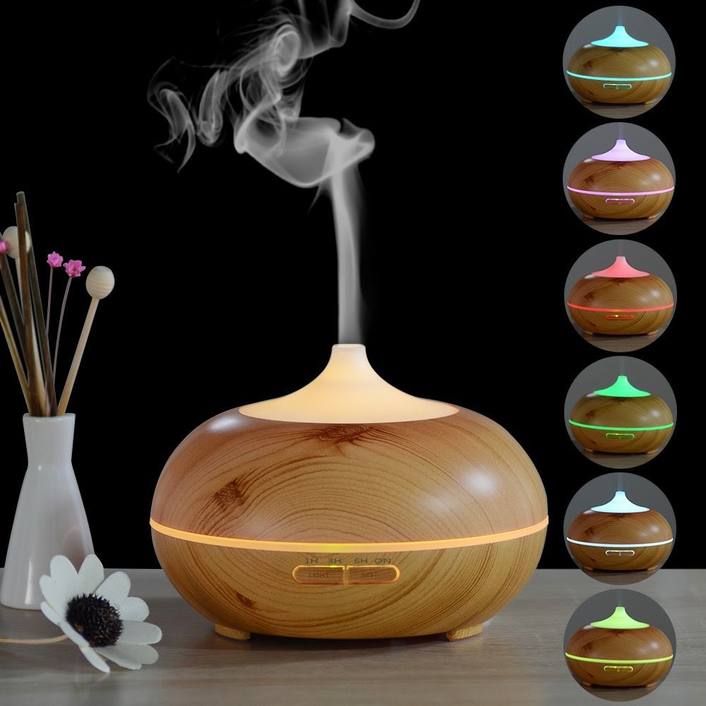 Wooden 300ml Aroma Essential Oil Diffuser With Multi color