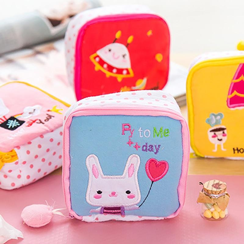 Cute Cartoon Sanitary Napkin Bag Mini Pouch Small Women Cotton Bag Girl Sanitary Pad Storage Bag Coin Cash Storage Bag Organizer