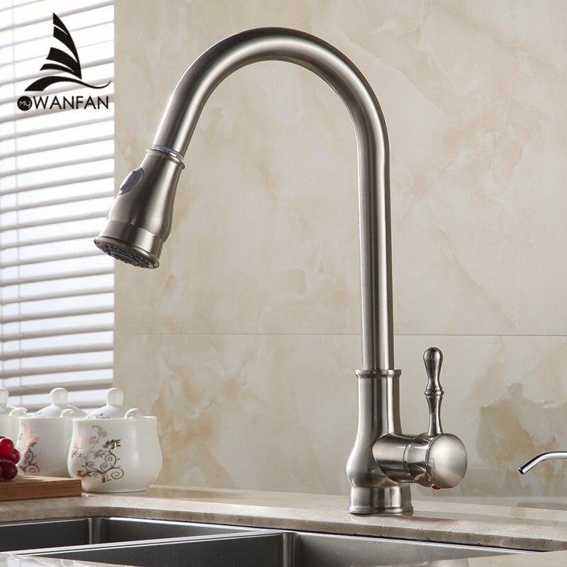 Torneira Da cozinha Latão Níquel Escovado Arco Alto Kitchen Sink Faucet Pull Out Spray de Rotação Torneira Misturadora Torneira Cozinha GYD-7117
