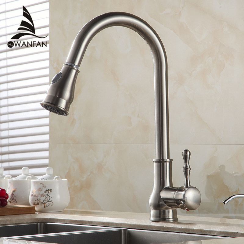 Küchenarmatur Messing Nickel Gebürstet Hohe Arch Spüle Wasserhahn Ziehen Rotation Spray Mischbatterie Torneira Cozinha GYD-7117