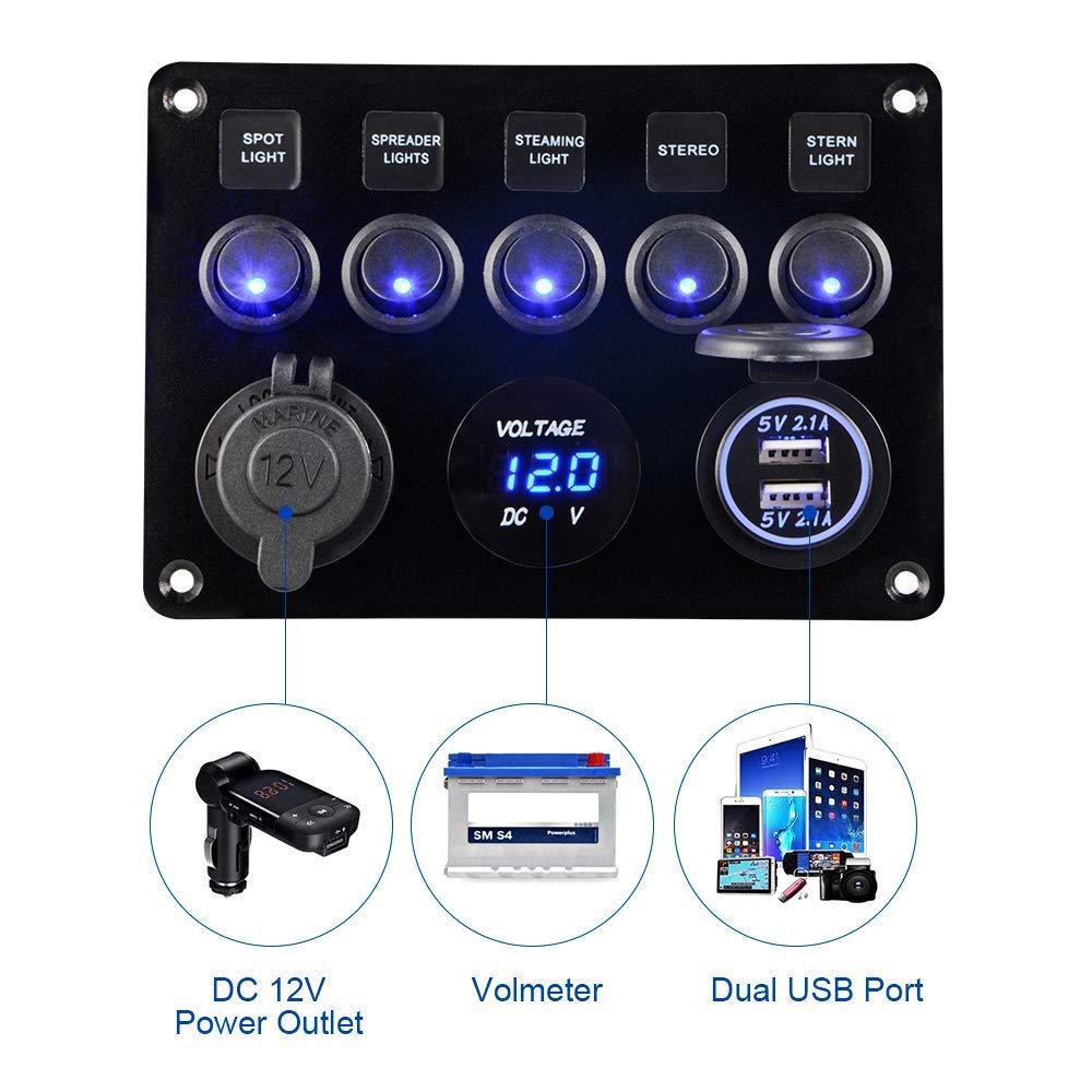 8 Gang 12V LED Light Campervan Switch Control Panel Voltmeter USB Charger Fit VW