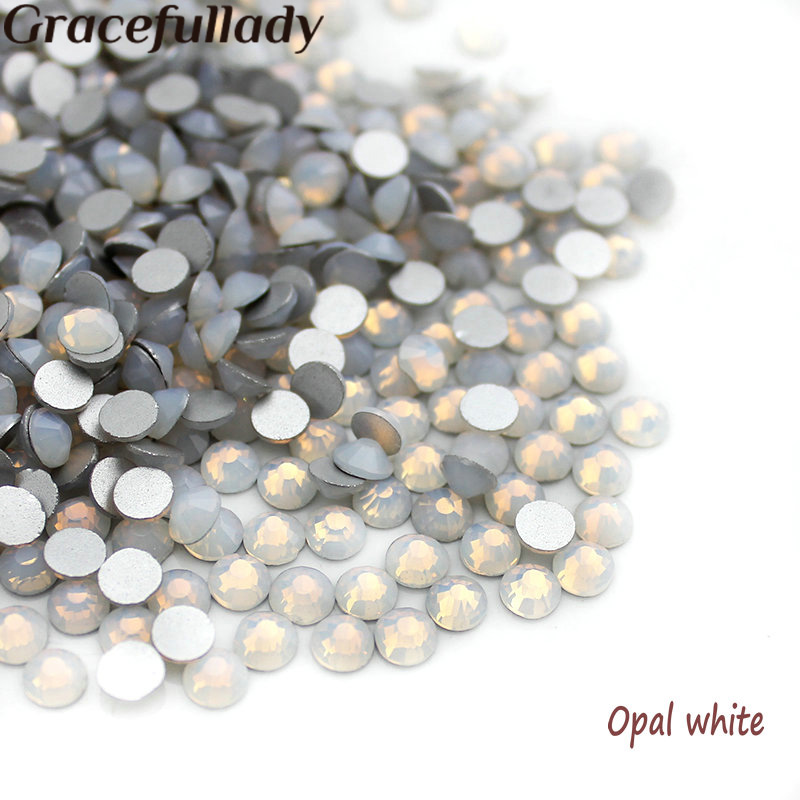Super Shiny SS3-SS34 White Opal Glitter Non Hotfix Opal Color 3D Nail Art Decorations Flatback Rhinestones Strass Stones