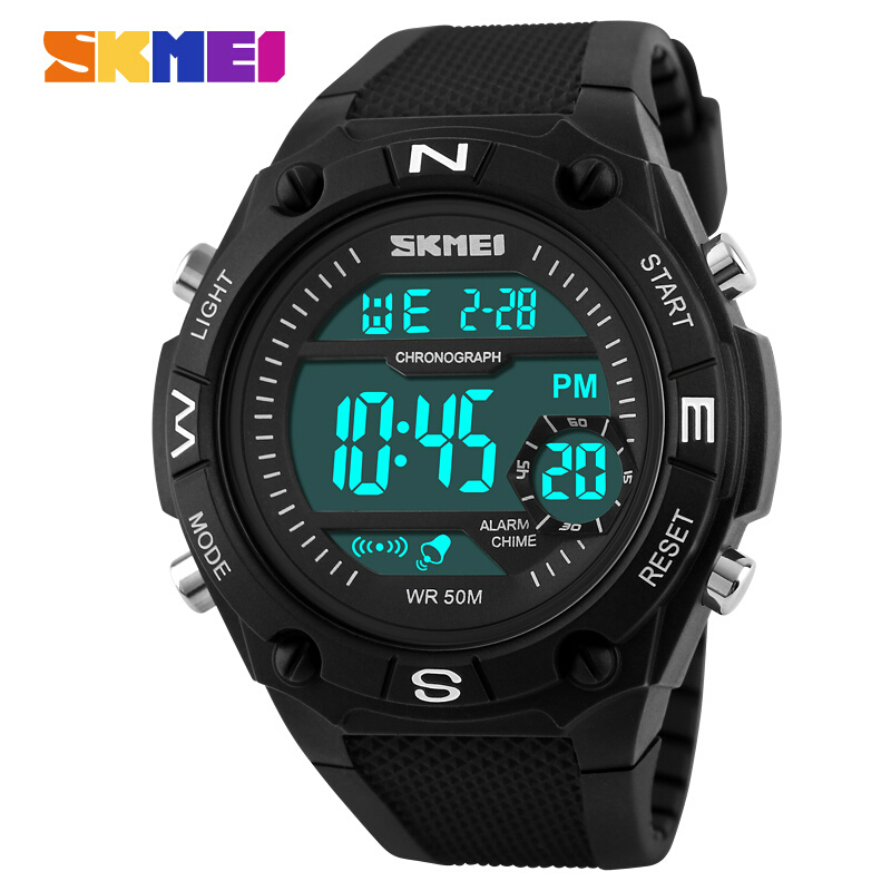 SKMEI watches font b men b font electronic LED digital watch sports chronograph alarm clock military