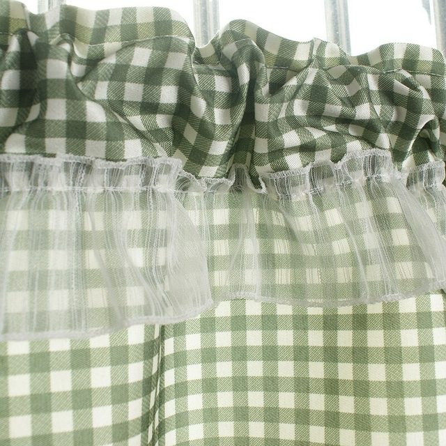 Online Shop XYZLS Green Plaid Blinds Kitchen Curtains Cafe Curtain Door Half Short Panel Drapes Valance Home Decor