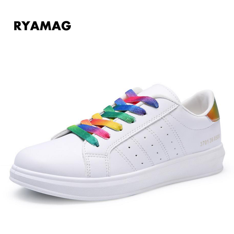 2018 New Spring Sneakers Wear Shoes Female Style Women's Fashion Casual Sneakers Platform Rainbow Lace-up Shoes glowing sneakers usb charging shoes lights up colorful led kids luminous sneakers glowing sneakers black led shoes for boys