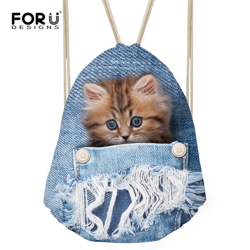 FORUDESIGNS Cute Women Drawstring Bag Blue 3D Animal Denim Cat Dog String School Backpack Mini Travel Backbag Storage Bag