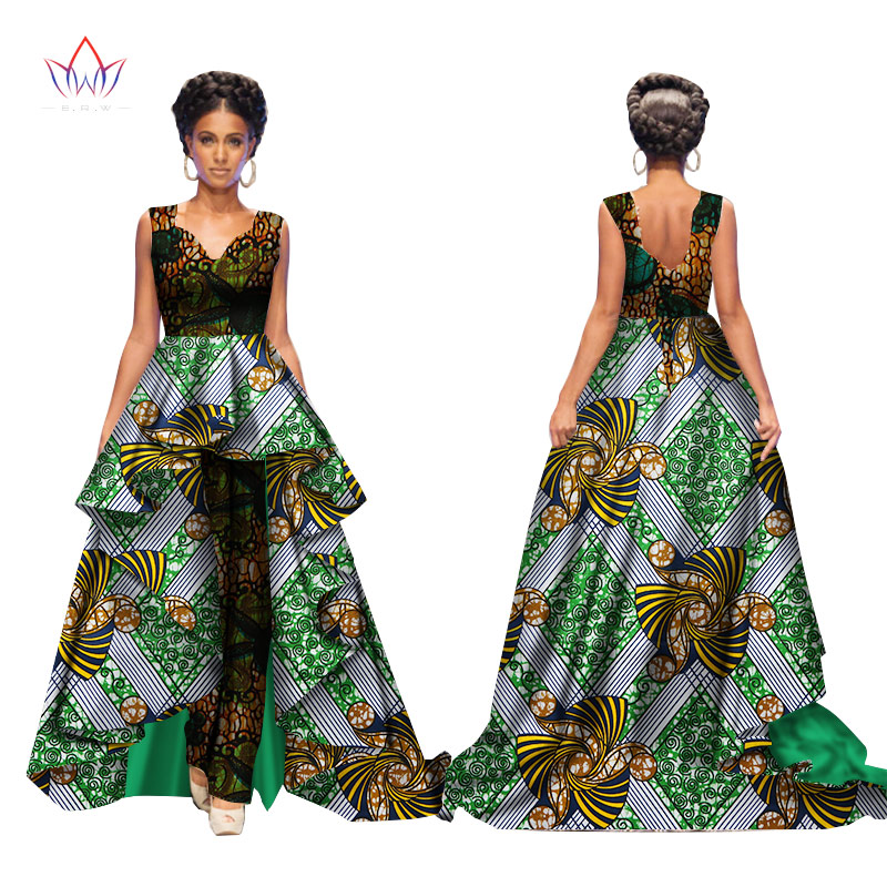 African 2017 Summer Bazin Elegant Jumpsuits for Women Maxi Sleeveless Romper And Long Dashiki Pants Plus Size BRW WY2117 2