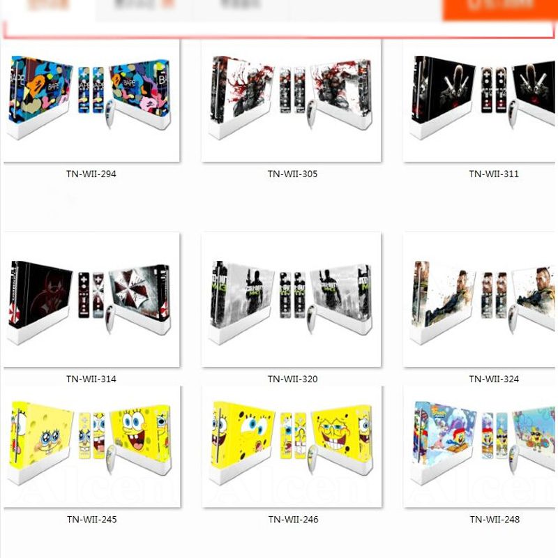 Game Accessories Vinyl Skin Sticker Protector for Nintendo Wii Controller skins and Stickers for Wii Console