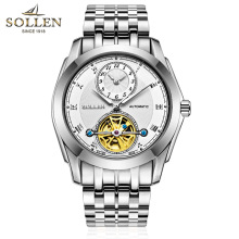 SOLLEN automatic mechanical watch business men watches hollow steel waterproof male table luminous multifunction
