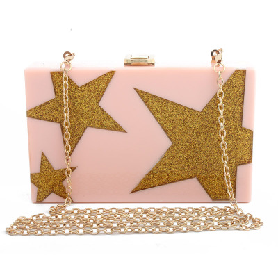 Women Shoulder Clutch Bag Fashion Messenger Bag Sequins Acrylic Star Party Evening Shoulder Box Clutch box clutch purse