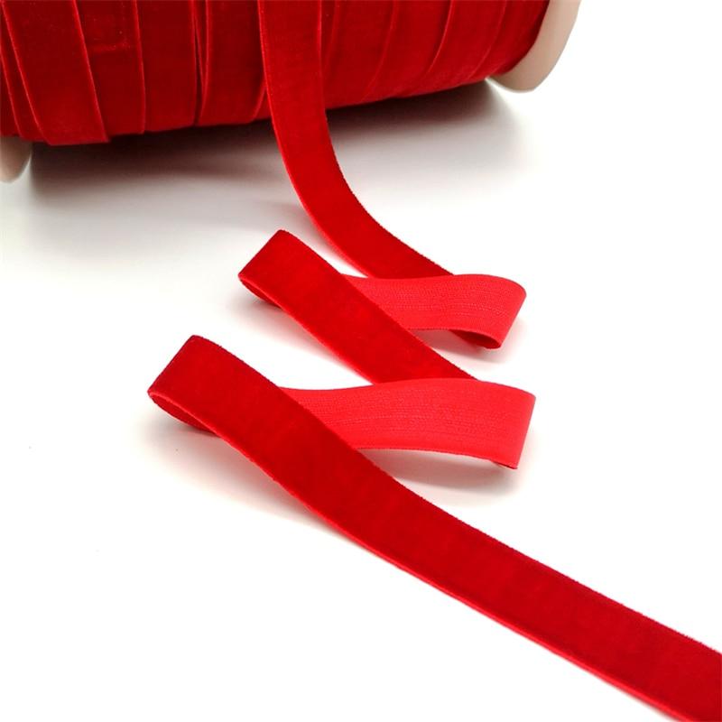 5 ярдов 6-25 мм бархатная лента для украшения свадебной вечеринки ручная работа лента для упаковки подарков бантик для волос DIY Рождественская лента - Цвет: Red
