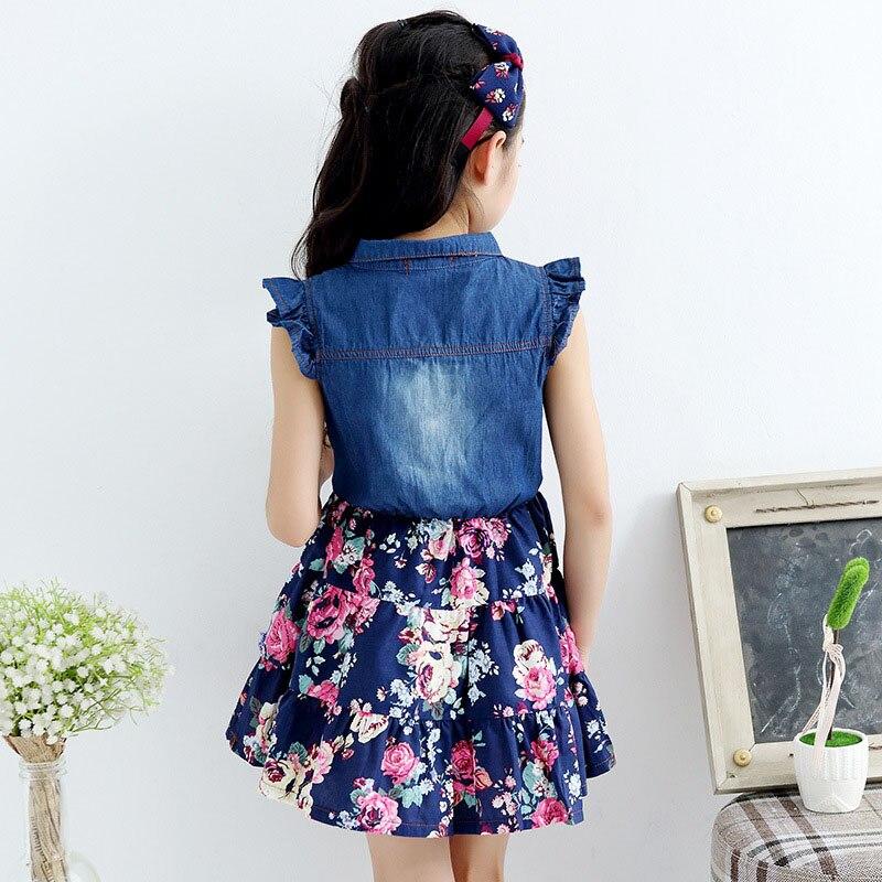 ae644a912 Caliente adolescente niñas denim vestido floral nuevos vestidos de verano  para las chicas 10 años bebé chica ropa de los niños vestidos de infantis  en ...