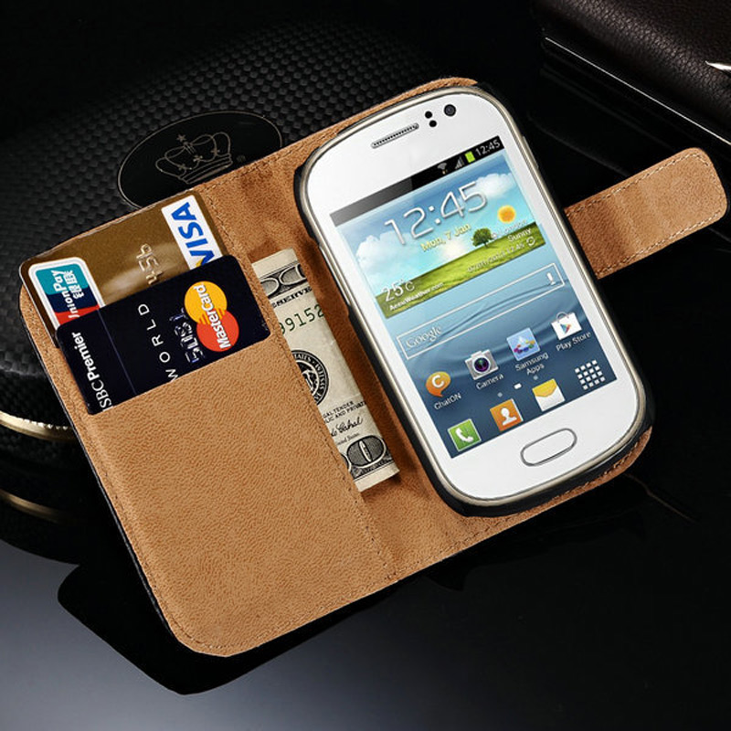 Vintage Genuine Leather Case for Samsung Galaxy Fame S6810 S6812 Phone Cases Stand Wallet Style Leather Cover with Card Holders