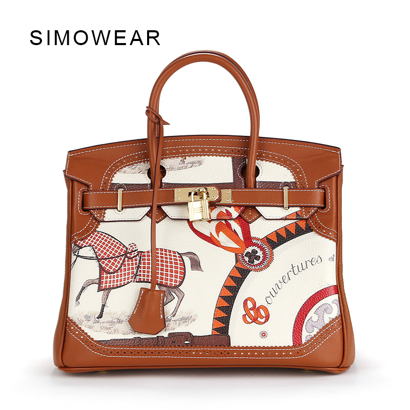 SIMOWEAR 2017 Famous Brand Luxury Genuine Leather Women Bag Tote Lady Classic 30cm Lock Handbag Painting Shoulder Bags