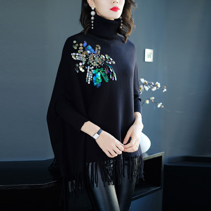 GTGYFF poncho cloak turtleneck pullover batwing sleeve solid black fringed tassel knitted warm sweater jersey jumper cape wrap