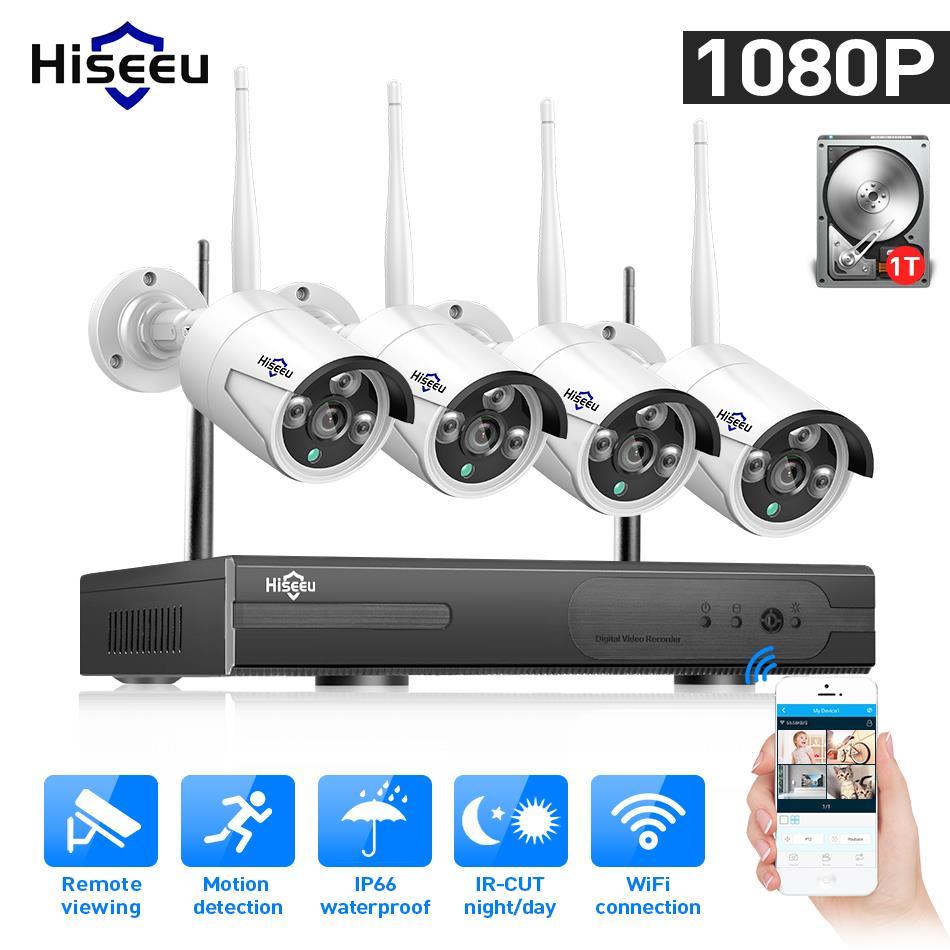 Caméra WIFI IP balle 1080P 8CH NVR Kit de système de sécurité CCTV sans fil infrarouge 4 pièces caméra de visualisation à distance par IP Pro 1T hdd