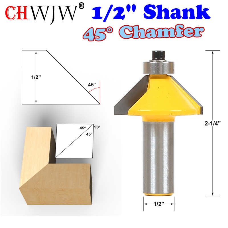 1pc 1/2 Shank High Quality 45 Degree Chamfer & Bevel Edging Router Bit Wood Cutting Tool woodworking router bits - Chwjw 1pc 1 4 shank high quality roman ogee edging and molding router bit wood cutting tool woodworking router bits chwjw 13180q