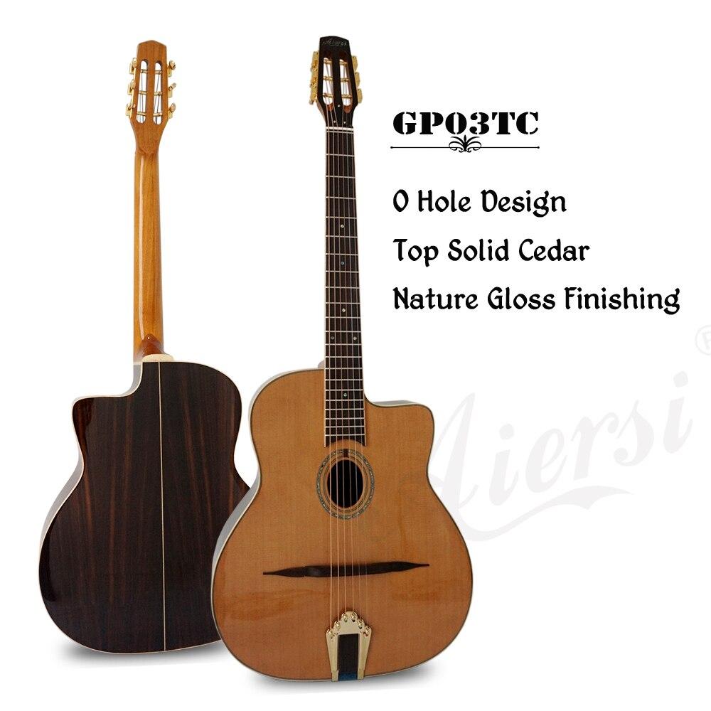 Aiersi marca ovalada agujero pequeño Bouche sólido cedro Top djego Jazz Gypsy guitarra con funda y correa gratis