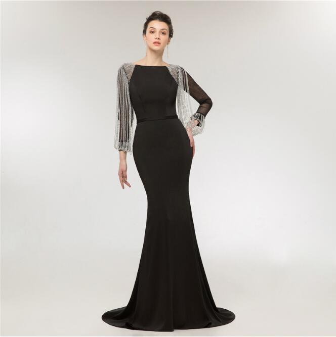 Perles glands cape robes de soirée noir noble robes de bal perles noires robe de bal élégante robe formelle Vestido de noiva