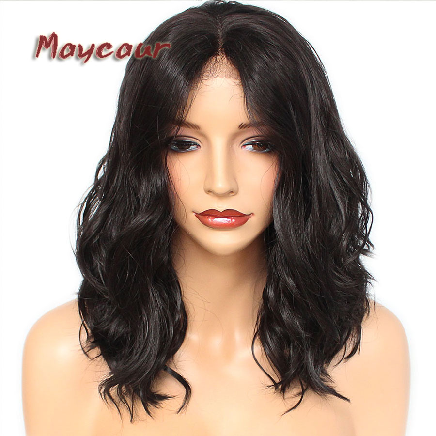 Maycaur #4 Color Short Bob Hair Short Wavy Synthetic Lace ...