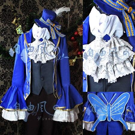 Vocaloid Алиса в стране Musicland Kaito Косплэй костюм на Хэллоуин наряд рубашка + галстук + жилет + пальто + Брюки для девочек + шляпа на заказ