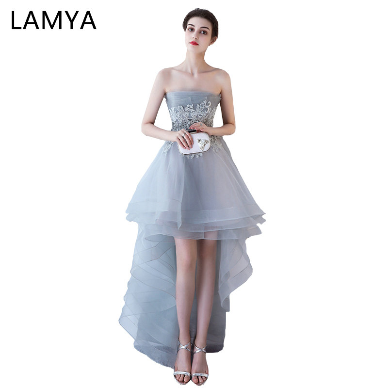 LAMYA Sexy Backless   Prom     Dresses   Short Front Long Back Evening Party   Dress   Fashionable Scalloped vestido de festa curto
