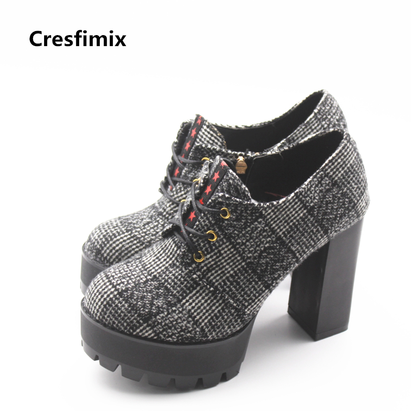 Cresfimix women casual high heel party boots lady cute spring & autumn high heel boots with side zipper bottes de femmes shoes cresfimix sapatos femininas women casual soft pu leather flat shoes with side zipper lady cute spring