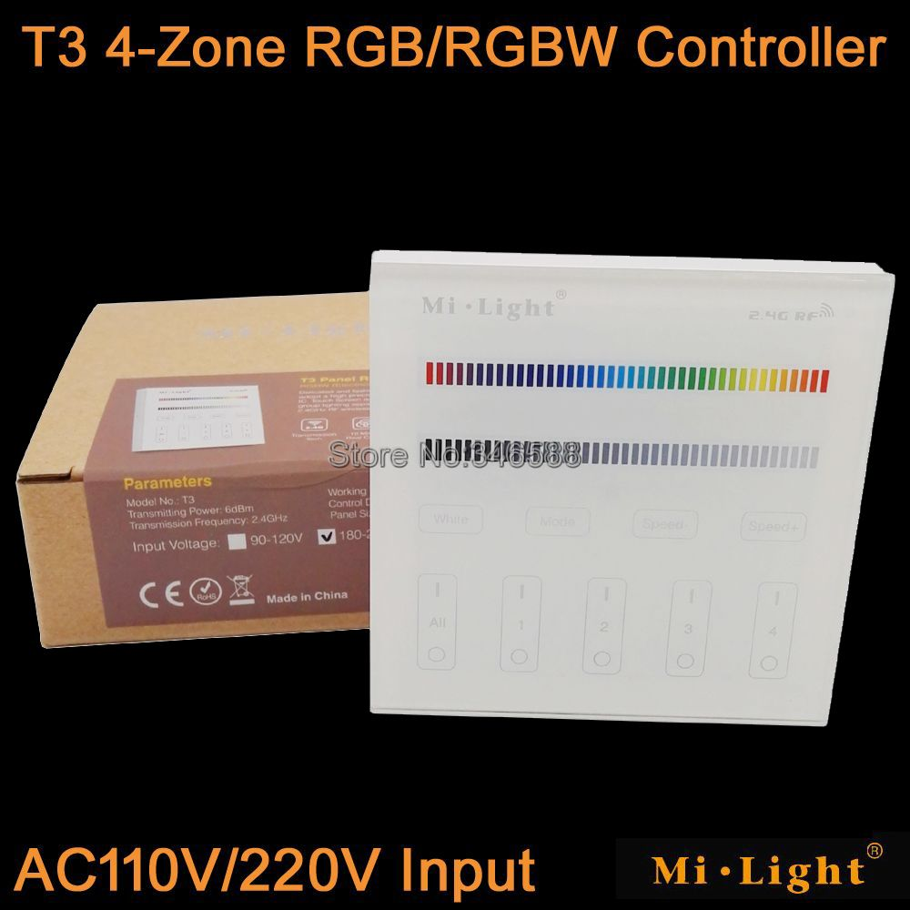 Mi.Light T3 4-Zone RGB / RGBW Smart Touch Panel Remote Controller AC110V or AC220V Wall Mount 2.4G Wireless as FUT095 <font><b>FUT096</b></font> image