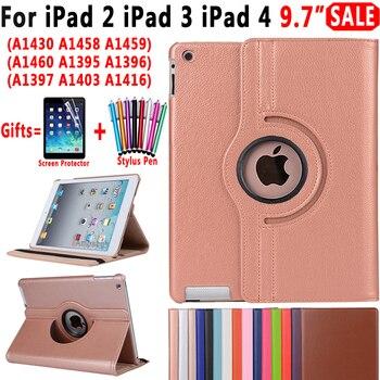 Вращающийся на 360 Градусов Кожаный чехол для Apple iPad 2 3 4 iPad2 iPad3 iPad4