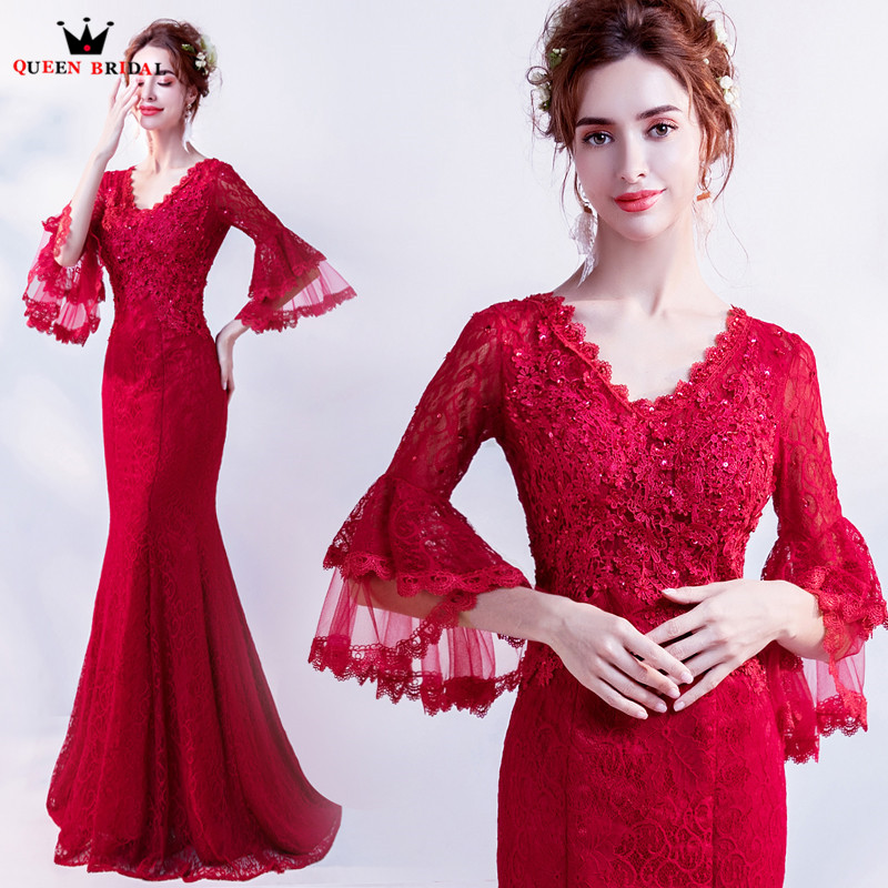 Mermaid V neck Lace Crystal Sexy Red Long Evening Gowns Evening Dresses 2018 New Prom Party