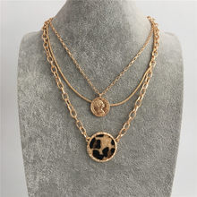 TRENDY NECKLACE GOLD COLOR PLATING LEOPARD PRINT DISC AND COIN PENDANT LAYERED NECKLACE FOR WOMEN GIRL(China)