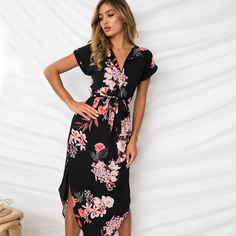 Lossky Women Dress Summer 2018 Boho Beach Sexy Casual Loose Summer Printed Dress V-neck Short Sleeve Midi Dress Plus Size Dress