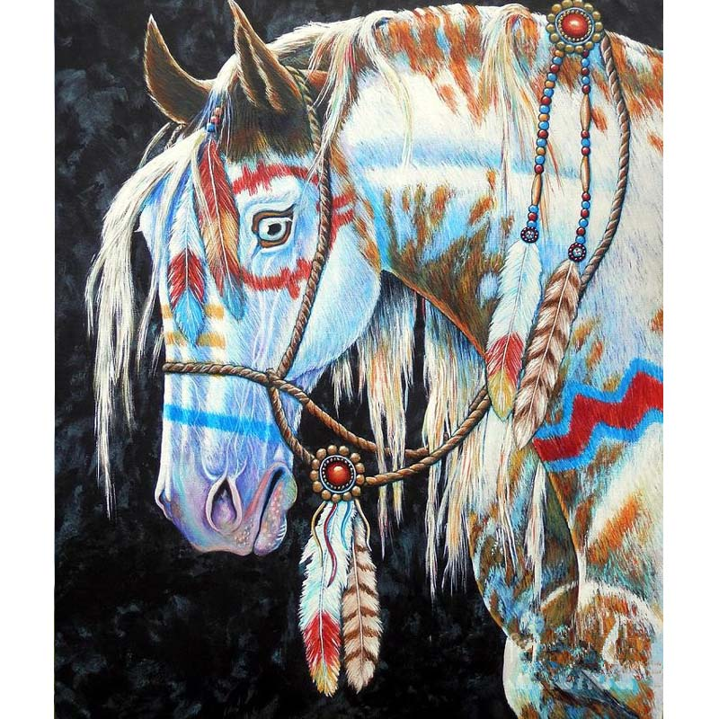 Diamond Painting White Horses Cross Stitch DIY 5D Diamond Embroidery paint horses Mosaic Resin Drill Needlework Crafts Animal